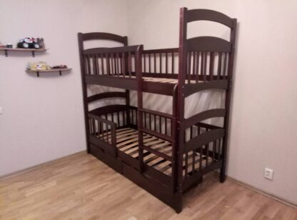 Двухъярусная кровать «Карина Люкс Усиленная» с ящиками и 4 бортиками